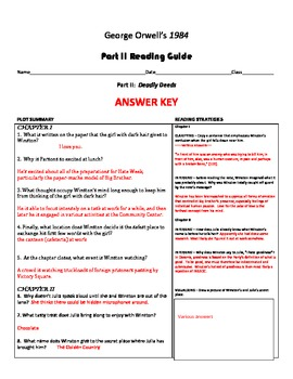 1984 Part II Reading Guide Over 70 Questions and Answers