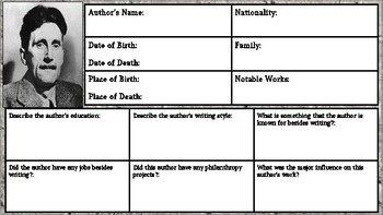 George Orwell: Author Biography Assignment/ Graphic Organizer