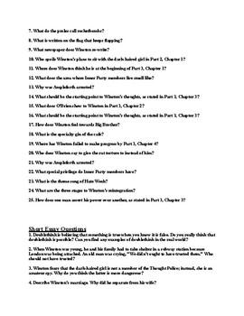 "George Orwell's ""1984"" Final Examination (& Answer Key)"