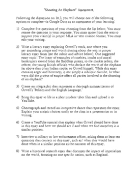"""George Orwell's """"Shooting An Elephant"""" Assessment Options Doc"""