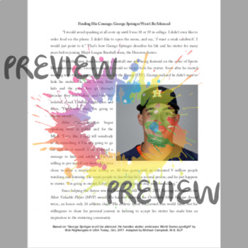 George Springer: Finding His Courage {Fluency Reading} {Distance Learning}