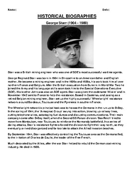 George Starr Biography Article and (3) Assignments