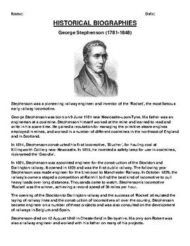 George Stephenson  Biography Article and (3) Assignments