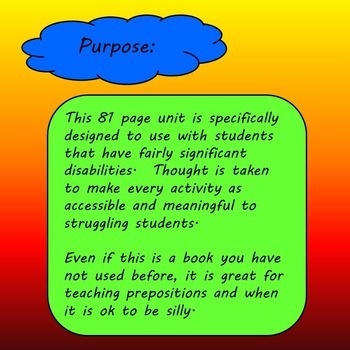 George Upside Down Literacy Unit for Special Education