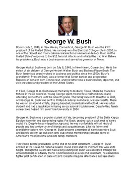 George W. Bush Article and Assignment