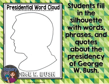 George W Bush Coloring Page and Word Cloud Activity
