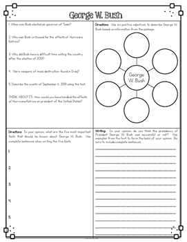 George W. Bush Differentiated Reading Passages & Questions