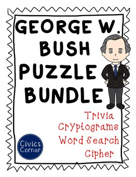 George W. Bush President Puzzle Pack- cipher, cryptogram, trivia, word search