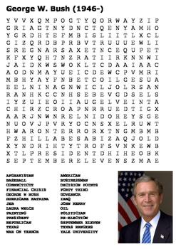 George W Bush Word Search