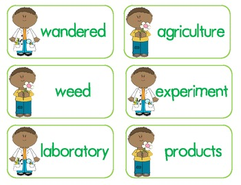 George W Carver Vocabulary Matching Game (A Weed is a Flower)