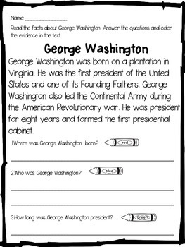 George Washington Close Reading Passage and Activities
