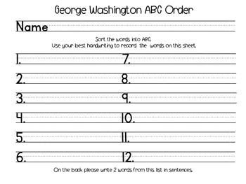 George Washington  ABC Order,