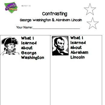 George Washington & Abraham Lincoln Contrasting Worksheet