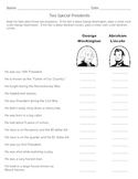 George Washington / Abraham Lincoln /  Presidents' Day Quiz  /  1st & 2nd Grades