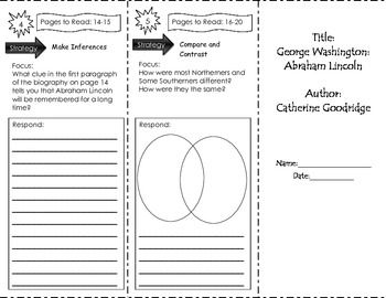George Washington: Abraham Lincoln Trifold Unit 1 Benchmark Literacy Grade 3