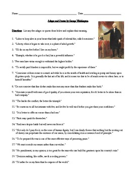 George Washington Adages and Quotes