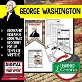George Washington Biography Research, Bookmark Brochure, Pop-Up, Writing