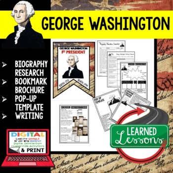 George Washington Biography Research, Bookmark Brochure, Pop-Up, Writing