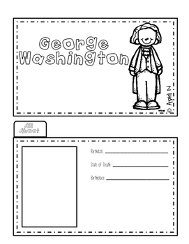 George Washington Biography Writing Tab Book