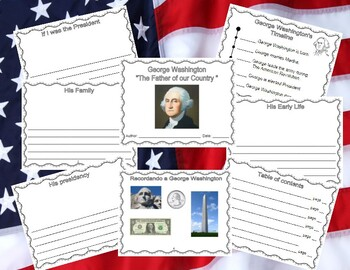 George Washington Booklet With Writing Starters -  Text Features