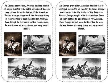 George Washington Booklet and Reading Response-President's Day Fun