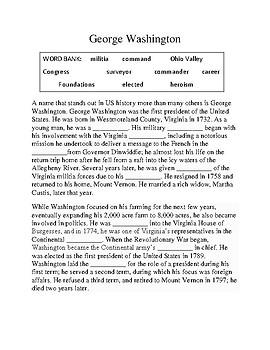 George Washington -- CLOZE Reading