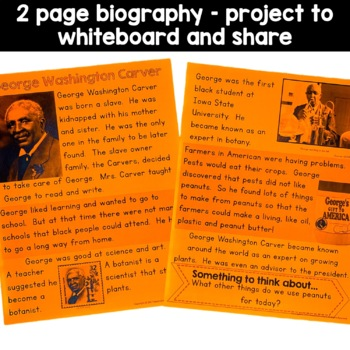 George Washington Carver Black History Simple Reading Activity for Kindergarten