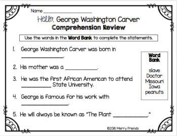 George Washington Carver Booklet - Emergent Reader Black History