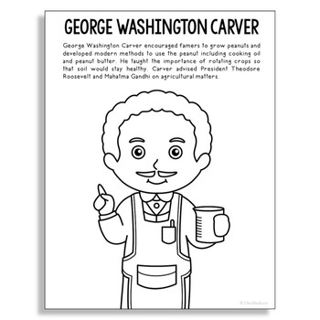 George Washington Carver Coloring Page Craft or Poster, STEM Technology History