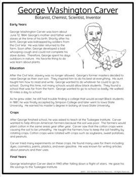 George Washington Carver Comprehension Packet
