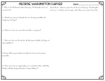 George Washington Carver Differentiated Reading Passages