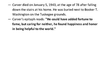 George Washington Carver Epitaph Message Puzzle