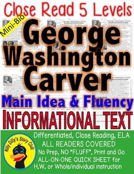 George Washington Carver FACTS 5 Levels Differentiated Informational Text