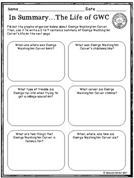 George Washington Carver Mini Book Foldable and Comprehension Packet