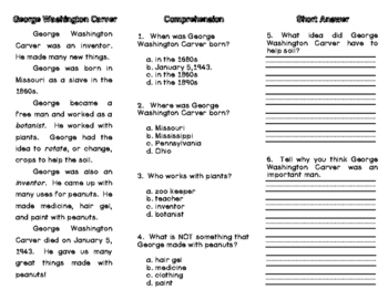 George Washington Carver Reading Comprehension Trifold