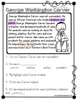George Washington Carver Reading Passage