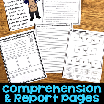 George Washington Carver Reading Passage, Biography Report, & Comprehension