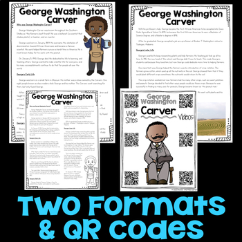 George Washington Carver Reading Passage, Biography Report, & Comprehension