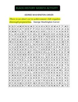 George Washington Carver Word Search