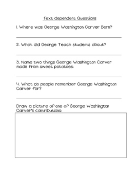 George Washington Carver close read with text dependent questions