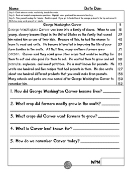 George Washington Carver fluency and comprehension leveled passage