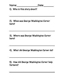 George Washington Carver reading comprehension FREE
