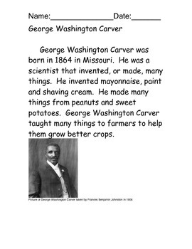 George Washington Carver reading comprehension packet