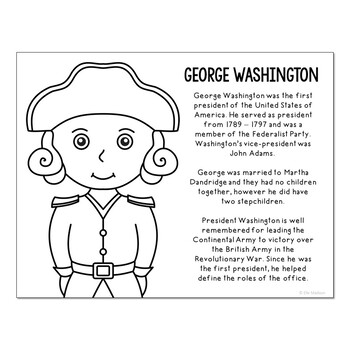 President George Washington Coloring Page Craft Or Poster With Mini