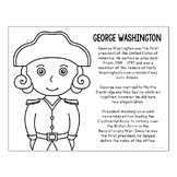 President George Washington Coloring Page Craft or Poster