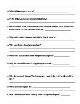 George Washington Comprehension Questions