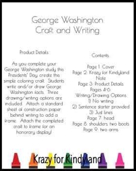 George Washington Craft for Kindergarten (Presidents' Day, US Symbols)
