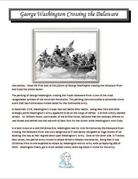 George Washington Crossing the Delaware Lesson with Worksheet