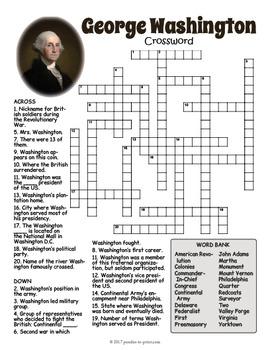 George Washington Crossword Puzzle
