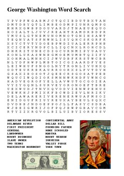 George Washington Crossword and Word Search